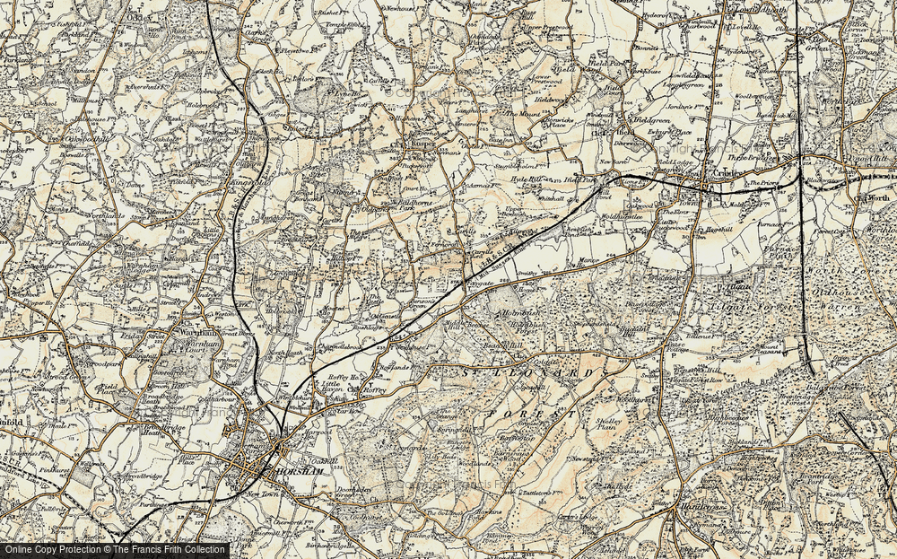 Old Map of Historic Map covering Middle Hill in 1898-1909