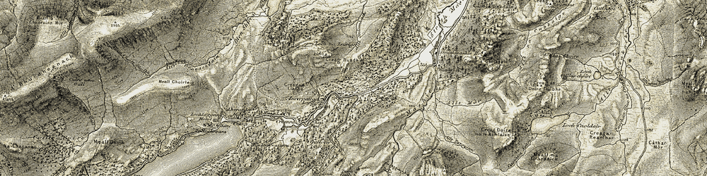 Old map of Allt Sniomhach in 1908
