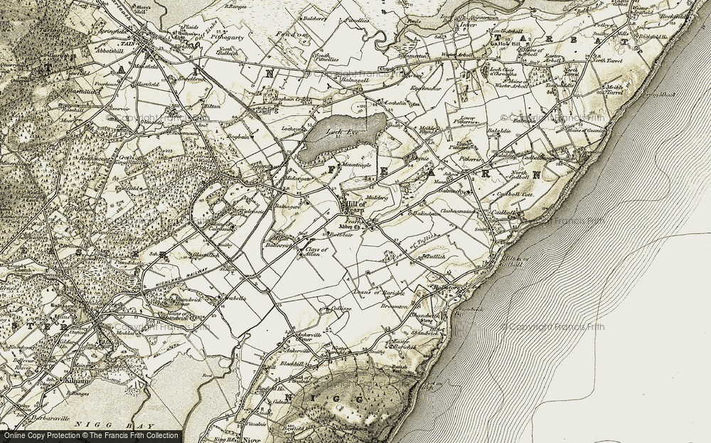 Old Map of Historic Map covering Balblair in 1911-1912
