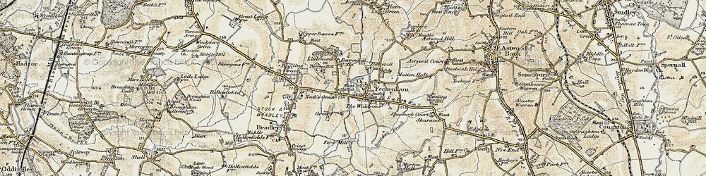 Old map of Feckenham in 1899-1902