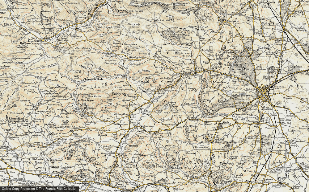 Old Map of Historic Map covering Afon Ogau in 1902-1903
