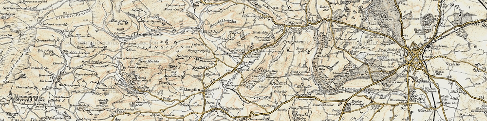 Old map of Afon Ogau in 1902-1903