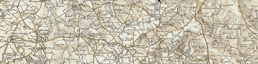 Old map of Afon Ceri in 1901
