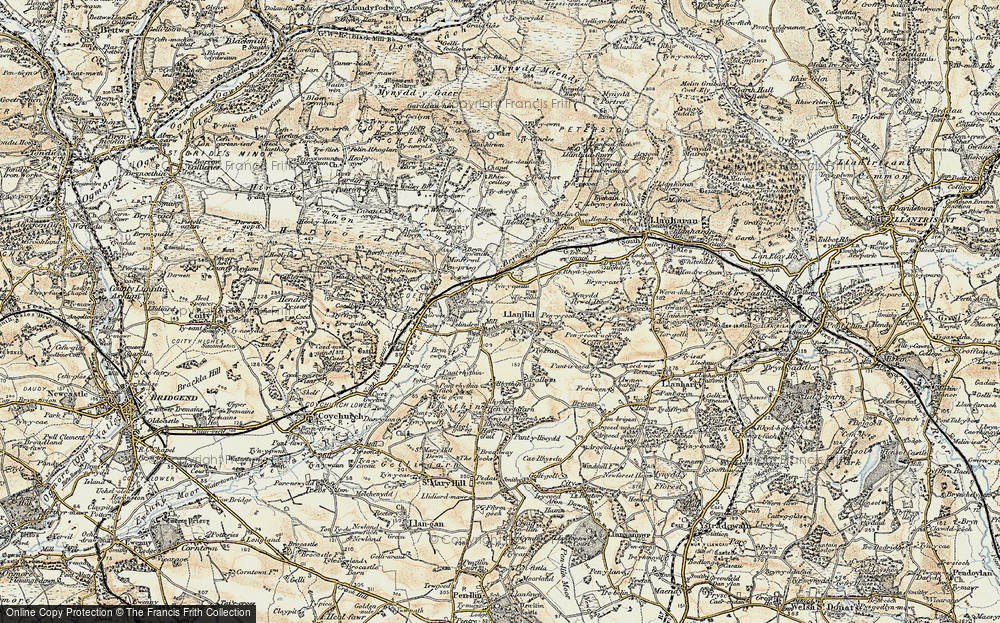 Old Map of Historic Map covering Llanilid in 1899-1900