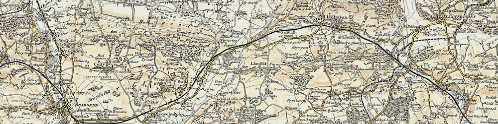 Old map of Llanilid in 1899-1900