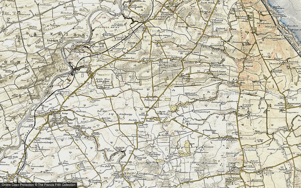 Old Map of Historic Map covering Lickar Moor in 1901-1903