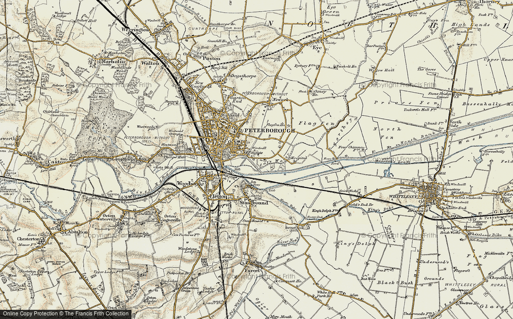 Old Map of Fengate, 1901-1902 in 1901-1902
