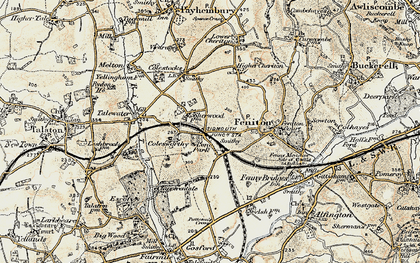 Old map of Feniton in 1898-1900