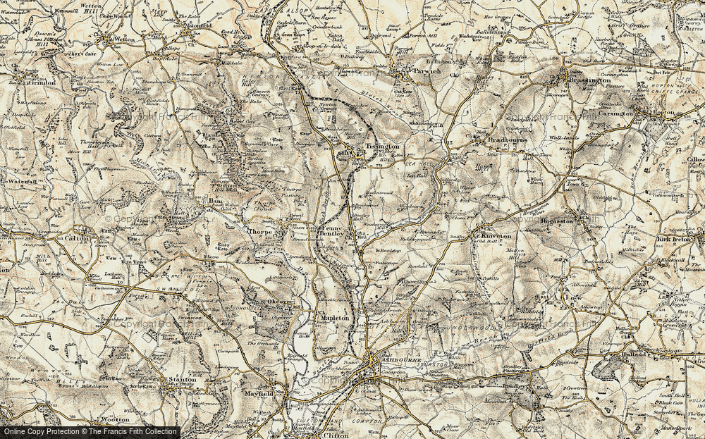 Old Map of Historic Map covering Bank Top in 1902