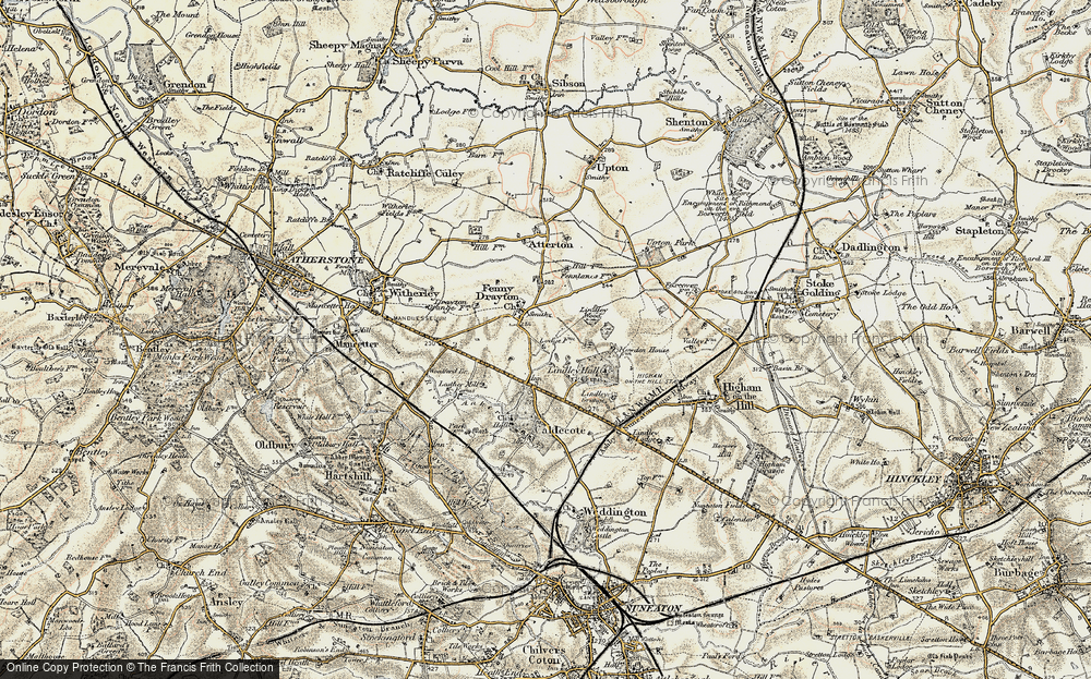 Old Map of Historic Map covering Ashpole Spinney in 1901-1903