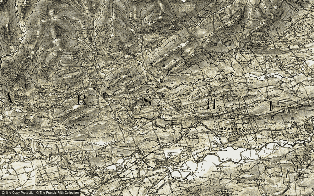 Old Map of Historic Map covering Balmadity in 1907-1908