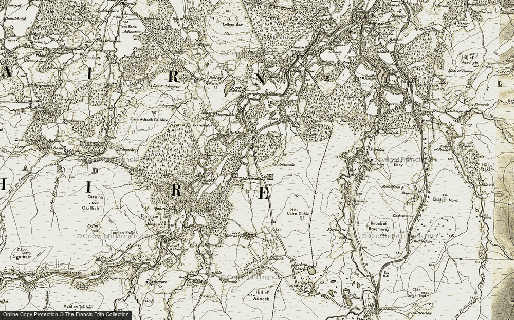 Old Map of Historic Map covering Achnabechan in 1908-1911