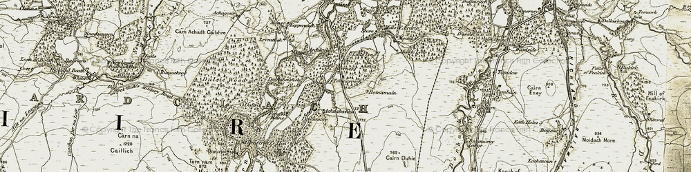 Old map of Airdie Mill in 1908-1911