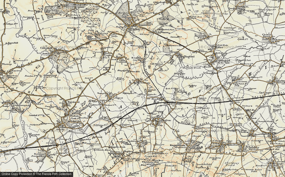 Old Map of Historic Map covering Alfred's Hill in 1898-1899