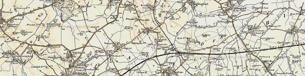 Old map of Alfred's Hill in 1898-1899