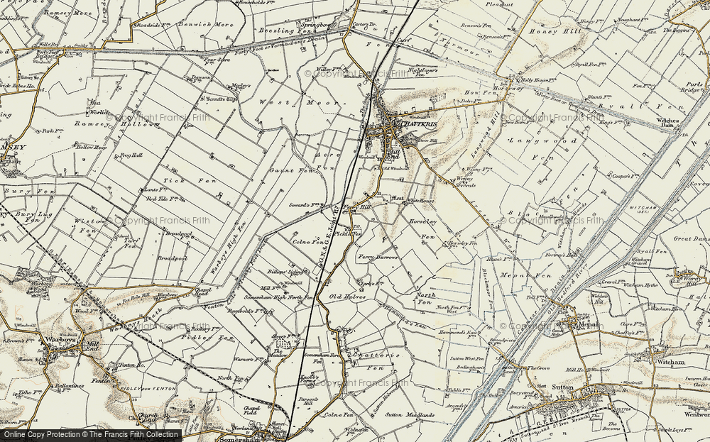 Old Map of Historic Map covering Acre Fen in 1901