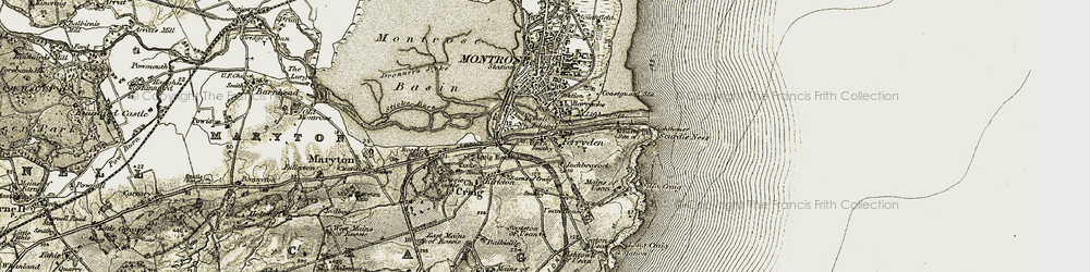 Old map of Ferryden in 1907-1908