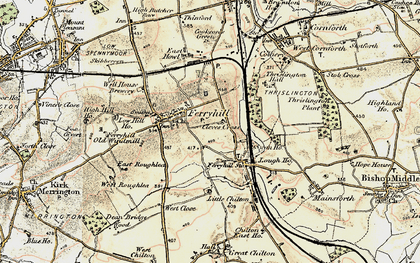 Old map of Ferryhill in 1903-1904