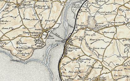 Old map of Ferryside in 1901