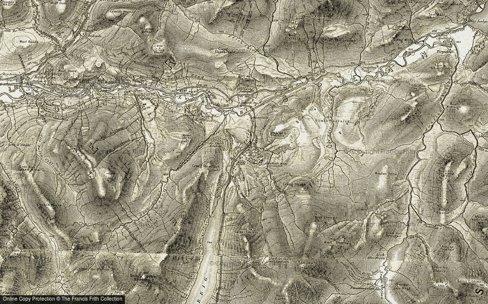 Old Map of Historic Map covering Allt Chaorach Beag in 1906-1908