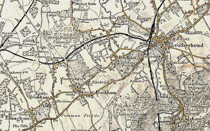 Old map of Fetcham in 1897-1909