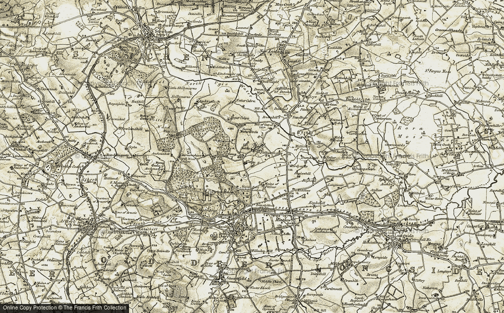 Old Map of Historic Map covering Auchrynie in 1909-1910
