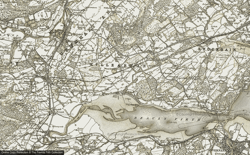 Old Map of Historic Map covering Woodend in 1911-1912
