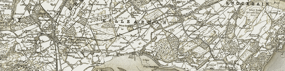 Old map of Woodend in 1911-1912