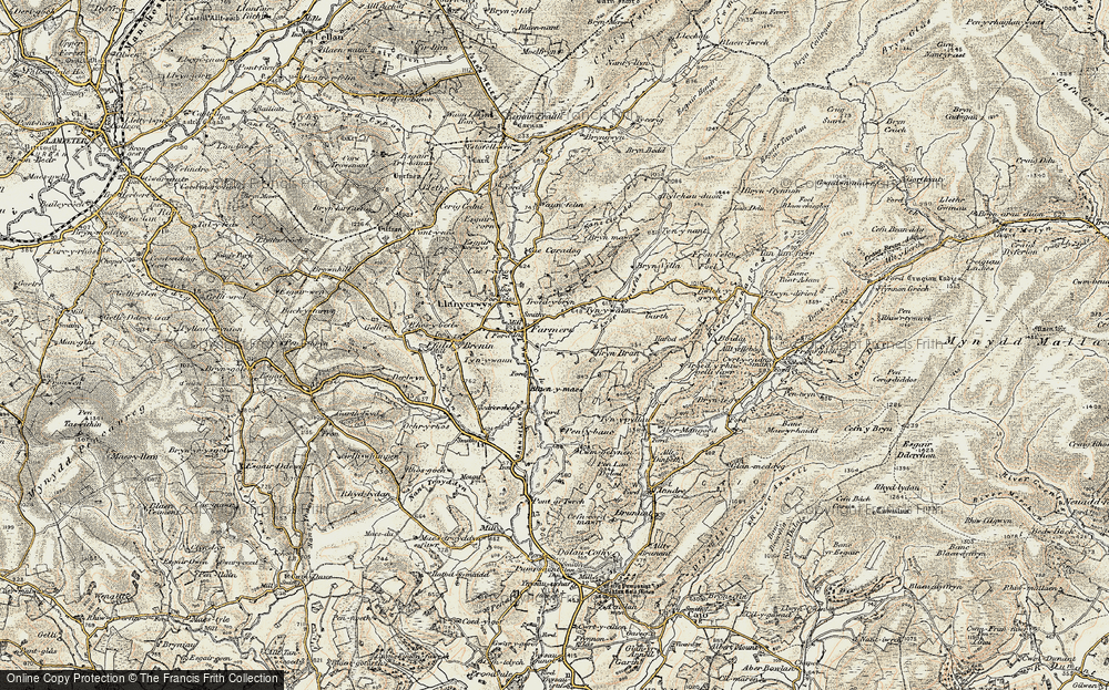 Old Map of Historic Map covering Afon Fanafas in 1900-1902
