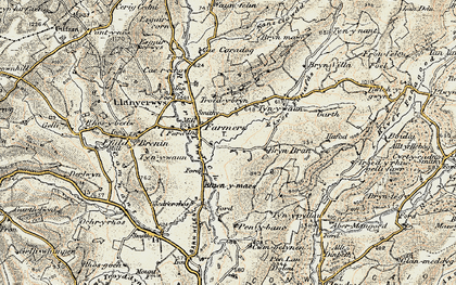 Old map of Afon Fanafas in 1900-1902