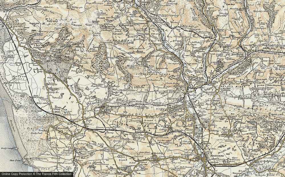 Old Map of Historic Map covering Ton Philip in 1900-1901