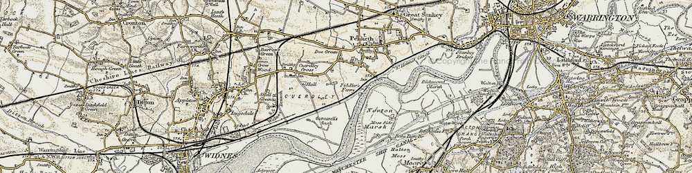 Old map of Fiddler's Ferry in 1903