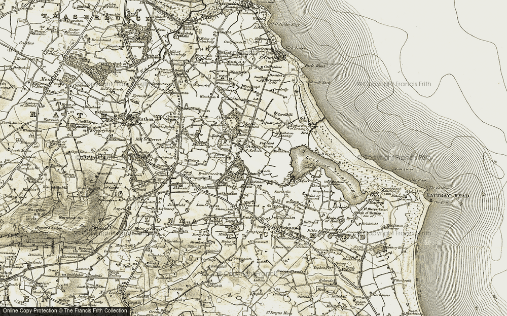 Old Map of Historic Map covering Woodhead in 1909-1910
