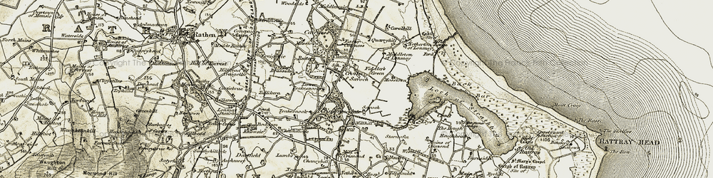 Old map of Wetness in 1909-1910