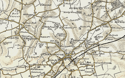 Old map of Attleborough Hills in 1901-1902