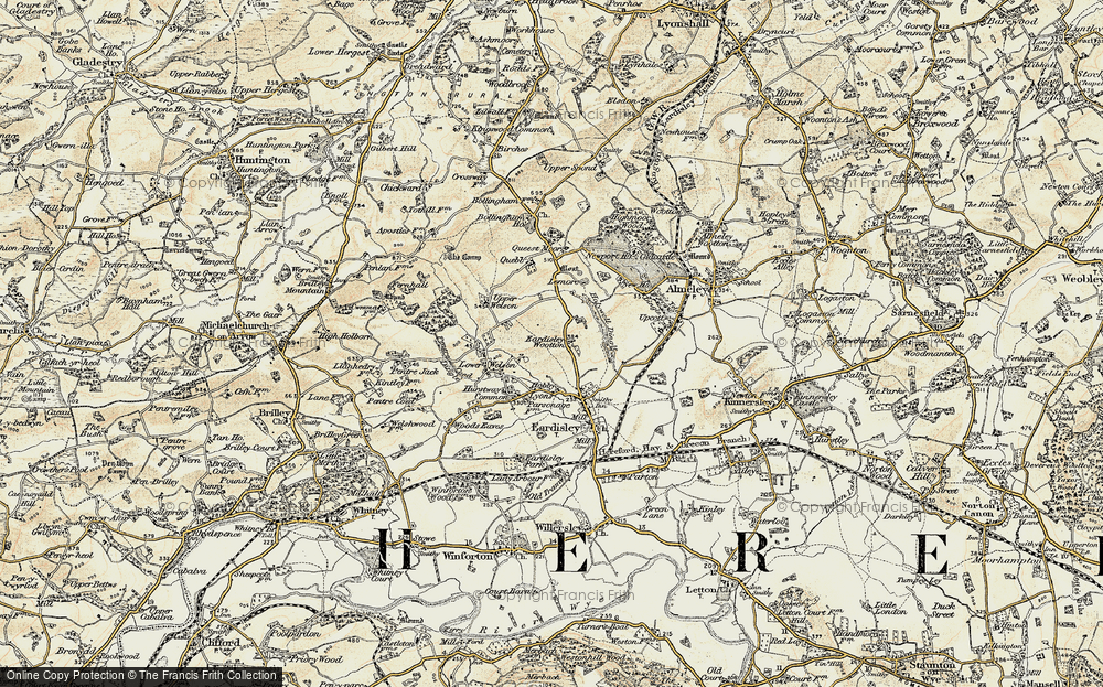 Old Map of Historic Map covering Lemore Manor in 1900-1901