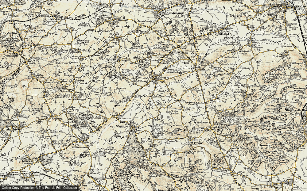 Old Map of Historic Map covering Alton Court in 1900-1901