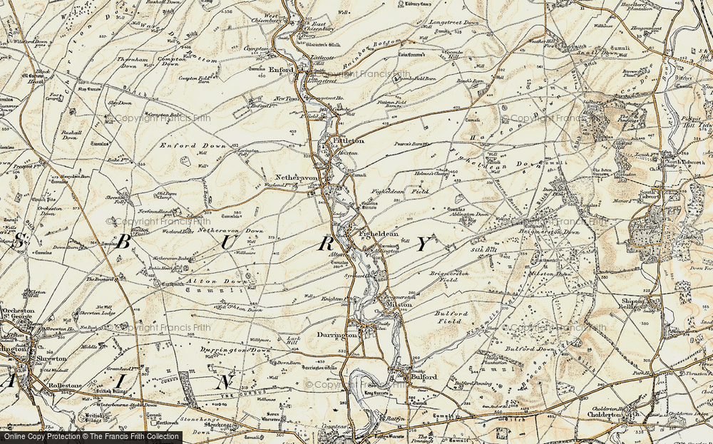 Old Map of Historic Map covering Ablington Furze in 1897-1899