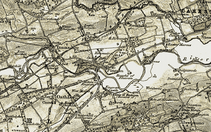 Old map of Finavon in 1907-1908