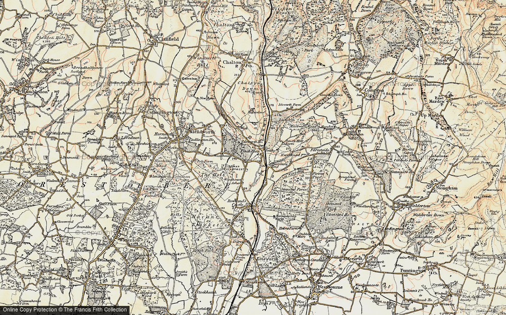 Old Map of Historic Map covering Woodhouse in 1897-1899