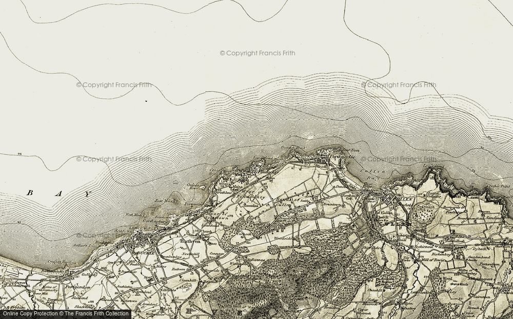 Old Map of Historic Map covering Law Hillock in 1910