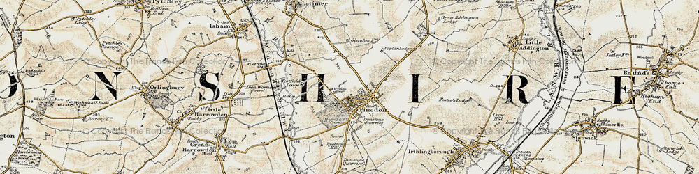 Old map of Finedon in 1901