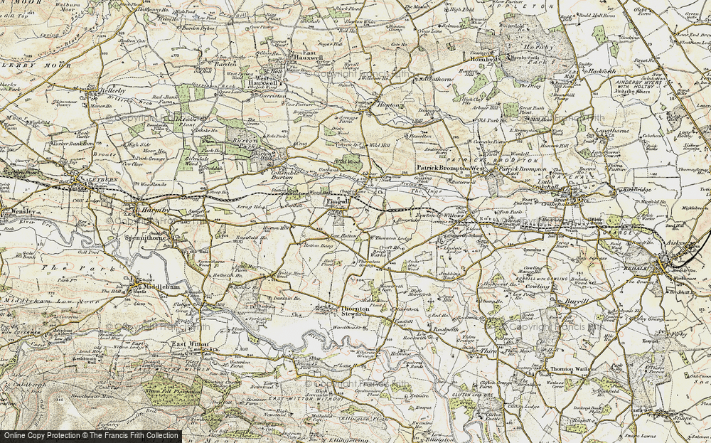 Old Map of Historic Map covering Leeming Beck in 1904