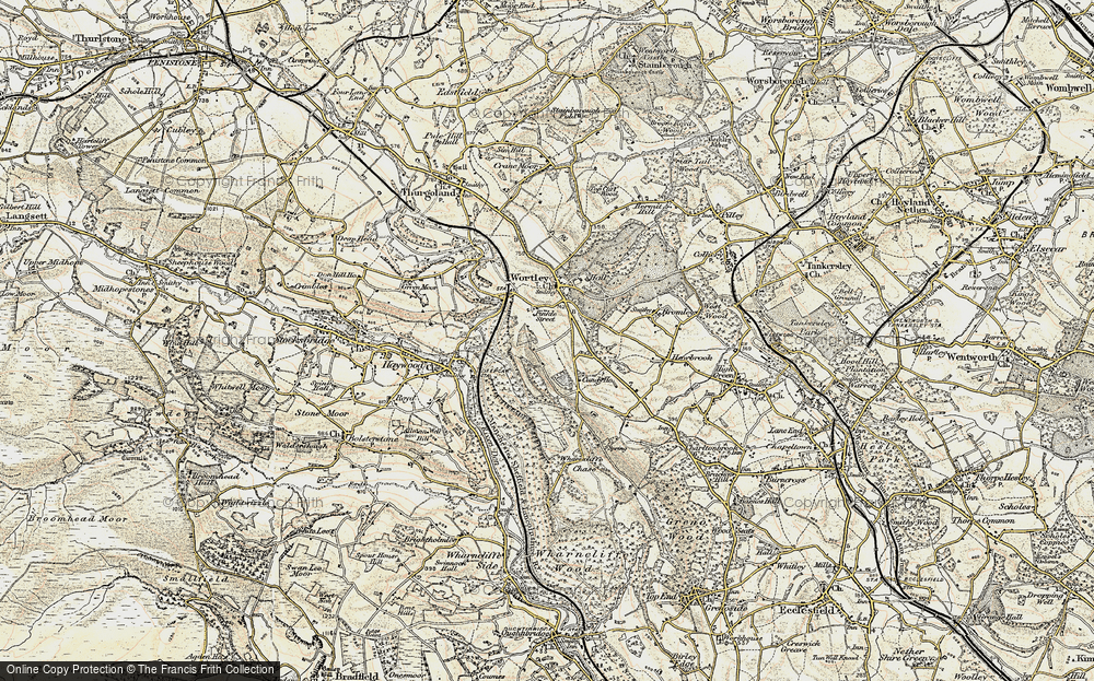 Old Map of Historic Map covering Wharncliffe Resr in 1903