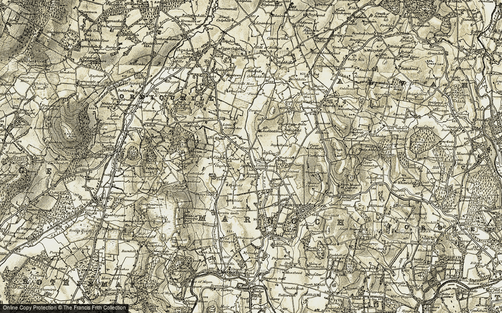 Old Map of Historic Map covering Auchinderran in 1910