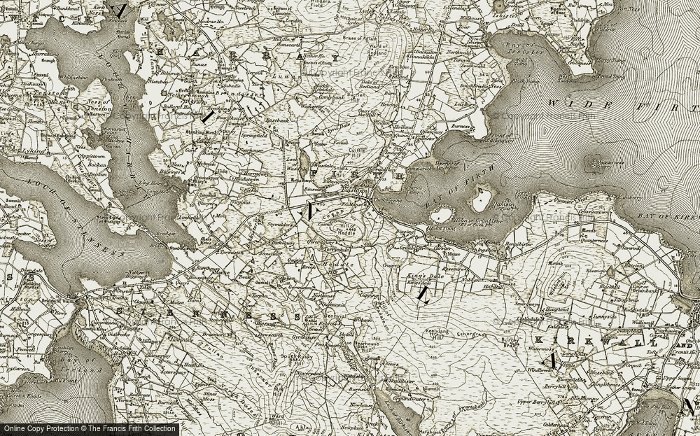 Old Map of Historic Map covering Leeon in 1911-1912