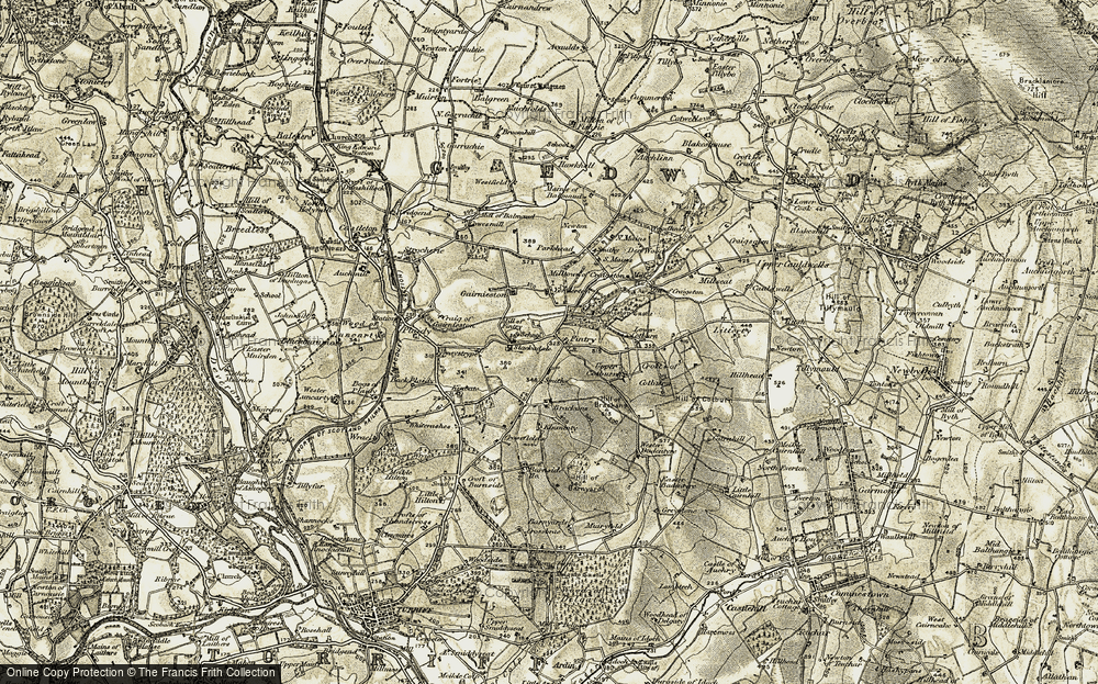 Old Map of Historic Map covering Balmaud in 1909-1910