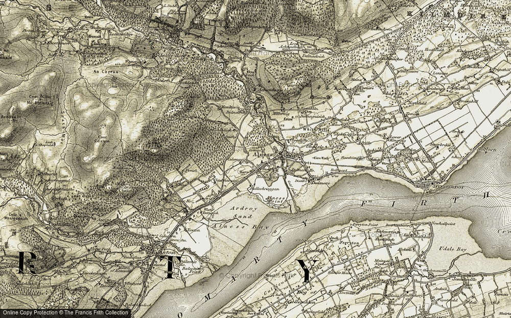 Old Map of Historic Map covering Ballachraggan in 1911-1912