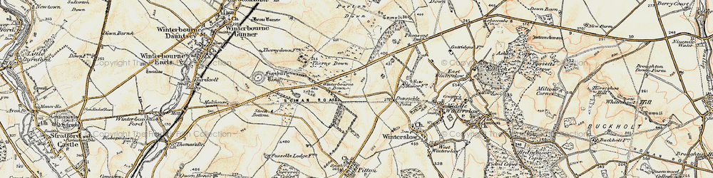 Old map of Winterbourne Down in 1897-1898