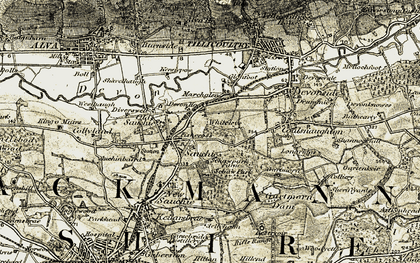 Old map of Fishcross in 1904-1907